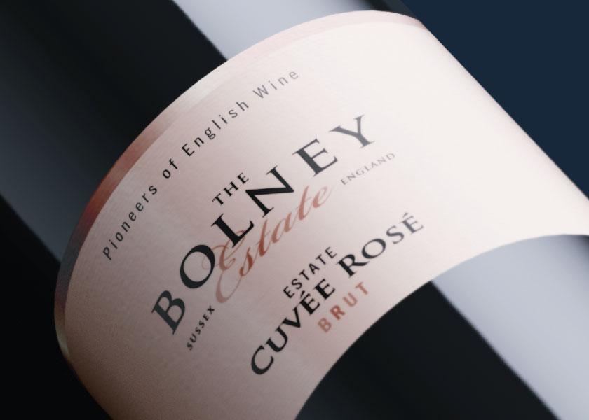 Bolney Cuvee Rose wine label design