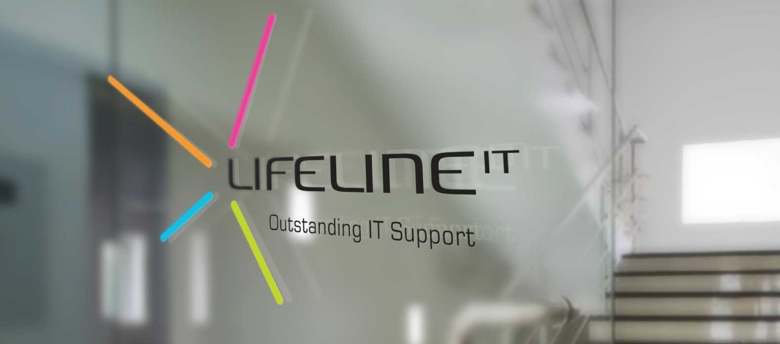 Lifeline IT's logo - signage on the office glass door
