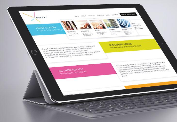 Lifeline IT website on Tablet