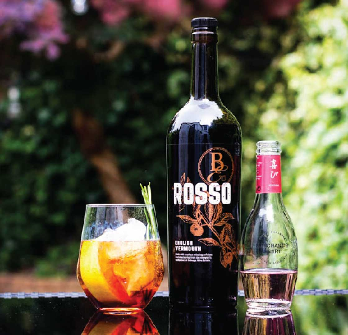 Bolney Rosso English Vermouth with ice in a glass