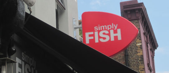 Simply Fish restaurant sign external